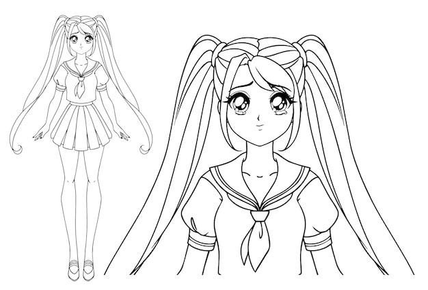 日本の制服を着た2つのおさげ髪の泣いている漫画の女の子。