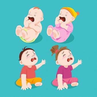 우는 또는 슬픔 아기 소년과 여자 아기