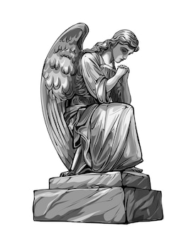 Плачущий молящийся ангел скульптура с крыльями. монохромная иллюстрация статуи ангела. изолированный.