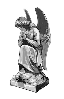 Crying praying angel sculpture with wings. monochrome illustration of the statue of an angel. isolated.