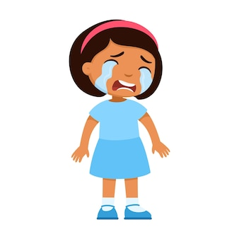 Crying sad little latin american girl upset child with tears on face standing alone bad mood