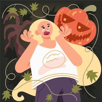 Crying woman being scared by a spooky pumpkin