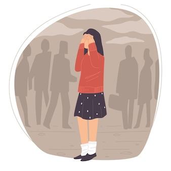 군중, 스트레스 또는 우울증에 둘러싸인 우는 여자, 여성 캐릭터의 갑작스러운 공황 발작. 여자의 불안이나 걱정, 문제를 겪고 있는 여자. 군중 속의 절망적인 인물. 평면 스타일의 벡터