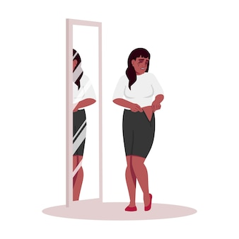 Crying woman trying on clothes semi flat rgb color vector illustration. african american girl depressed about weight isolated cartoon character on white background. emotional stress, obesity problem