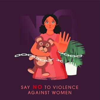 Плачущая молодая девушка говорит нет насилию в отношении женщин с плюшевым мишкой на фиолетовом