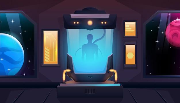 우주선이나 셔틀에 인간이나 외계인이 있는 극저온 캡슐