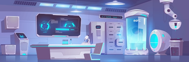 Пустой интерьер лаборатории крионики с оборудованием и техникой
