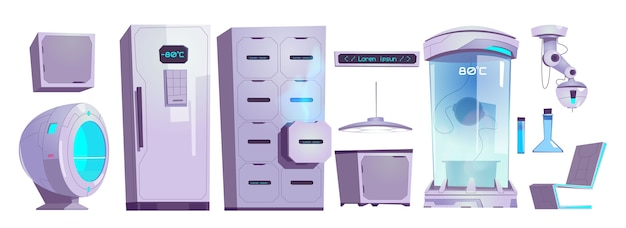 Cryonics laboratory equipment and technics, cryo camera with low temperature regime, drawer and refrigerator with digital screen and glass flasks, laser isolated cartoon vector illustration set