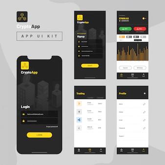 Crypto app ui kit for responsive mobile app.