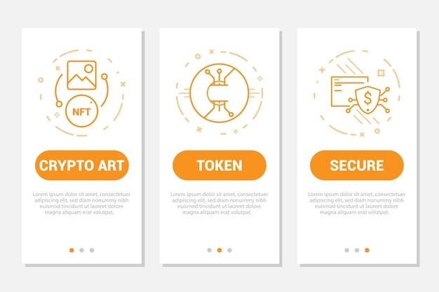 Crypto art 고유한 토큰 보안 선 기호로 설정된 모바일 앱 페이지 화면 온보딩