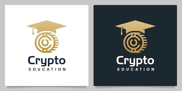 Crypto coin graduation hat university logo design illustrations