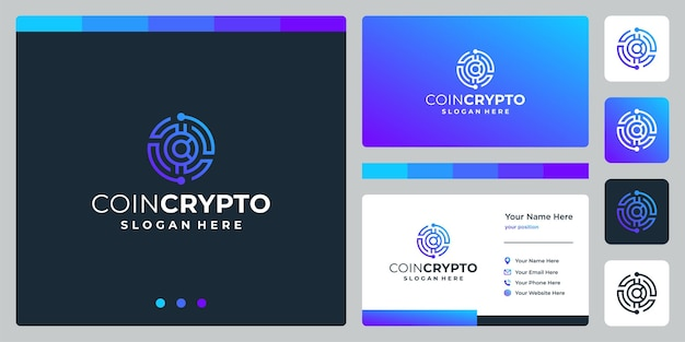 Crypto coin logo template with initial letter c. vector digital money icon, block chain, financial symbol.