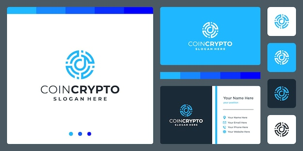 Crypto coin logo template with initial letter d. vector digital money icon, block chain, financial symbol.