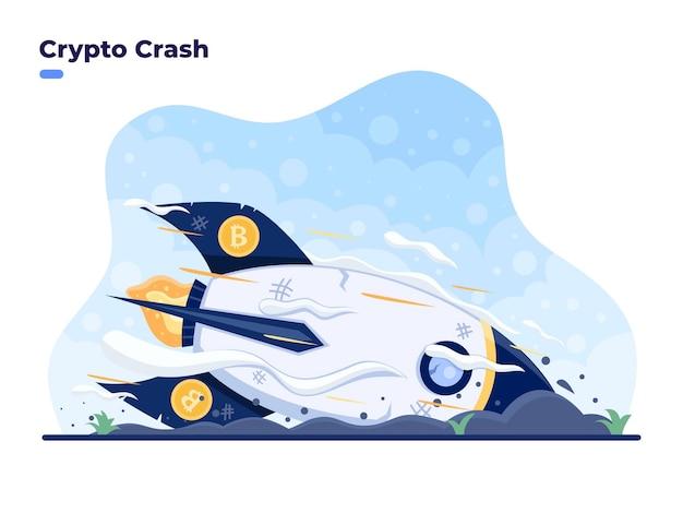 Crypto crash 벡터 평면 일러스트레이션 개념은 비트코인 로켓이 땅에 떨어지는 비트코인 시장 충돌 또는 감가상각 가격 붕괴 및 암호화 투자 시 막대한 손실
