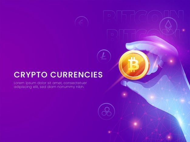 Crypto currencies concept based poster design with futuristic hand holding 3d golden bitcoin on purple background.