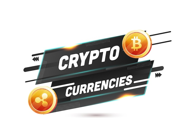 3d 황금 리플, 흑백 추상적 인 배경에 bitcoin으로 암호화 통화 텍스트.