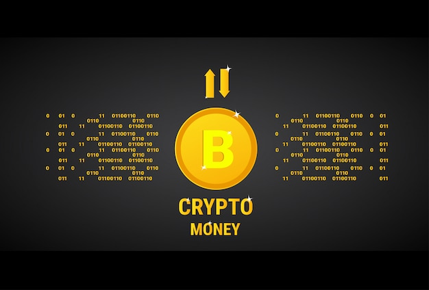 Crypto currency banner golden bitcoin digital web money concept