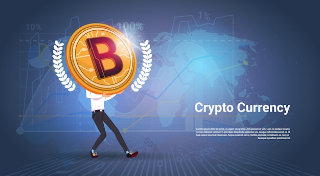 Crypto currency banner man holding golden bitcoin over world map background digital web money concept