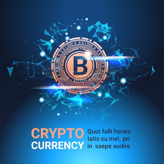 Crypto currency banner with copy space bitcoin on blue background digital web money technology