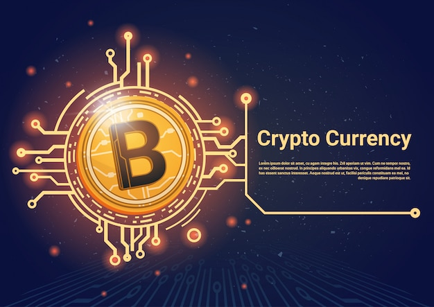 Crypto currency bitcoin banner with place for text digital web money concept