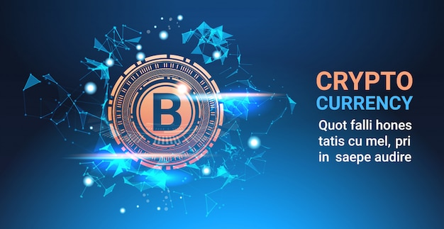 Crypto currency bitcoin on blue background digital web money modern technology banner with copy spac