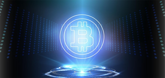 Crypto currency bitcoin on blue background digital web money modern technology banner