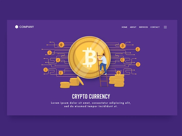 Crypto currency concept based landing page design