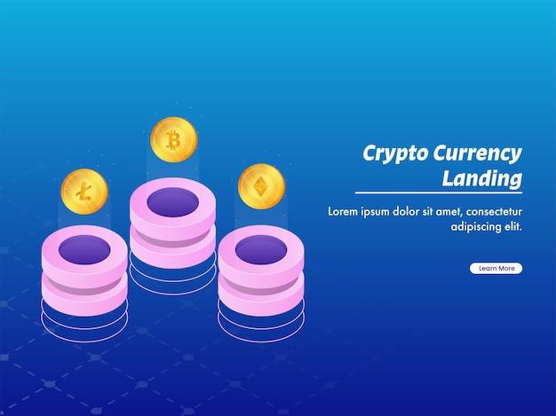 Дизайн криптовалюты с трехмерными тремя серверами в виде биткойнов