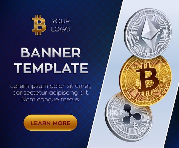 暗号通貨の編集可能なバナーテンプレート。ビットコイン、イーサリアム、リップル。 3dアイソメトリック物理コイン。黄金のビットコインコインと銀のエーテルとリップルコイン。株式
