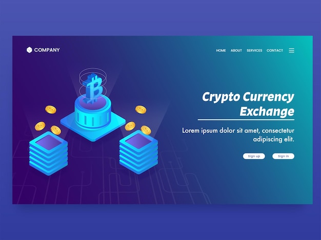Crypto currency exchange based landing page with isometric currency servers.