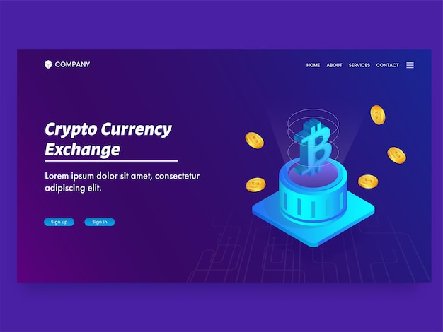 Crypto currency exchange landing page with  bitcoin server and golden dollar coins.