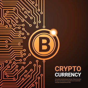 Crypto currency golden bitcoin digital web money concept circuit background