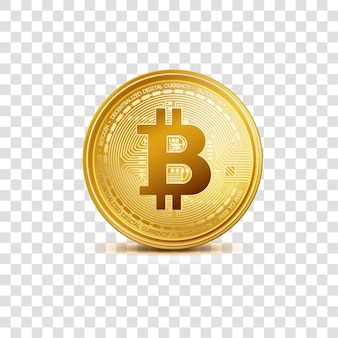 Crypto currency golden coin bitcoin symbol isolated on transparent background