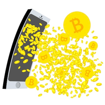 Crypto currency gushing from the mobil phone screen