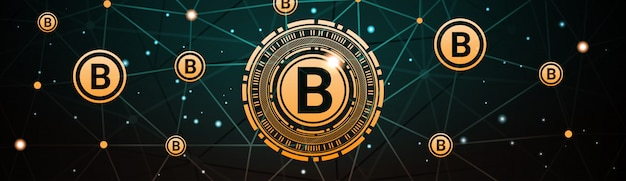 Crypto currency horizontal banner bitcoin digital web money technology