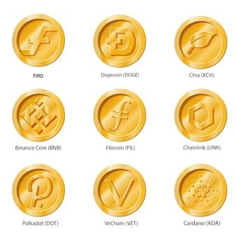 암호화 통화 아이콘 동전입니다. 앱, 웹 사이트 또는 로고에 대한 디지털 화폐 집합입니다. 플랫 일러스트