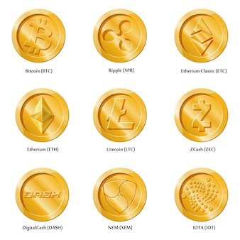 Crypto currency icons coins