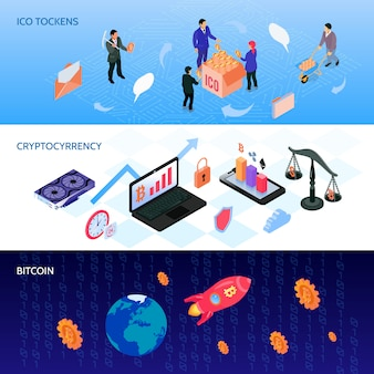 Crypto currency isometric banners