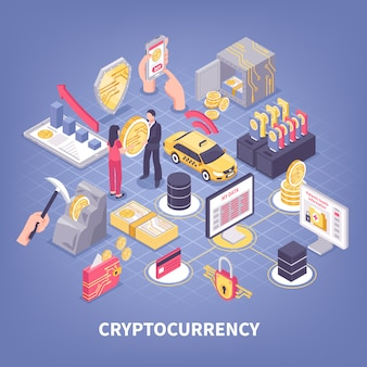 Crypto currency isometric illustration