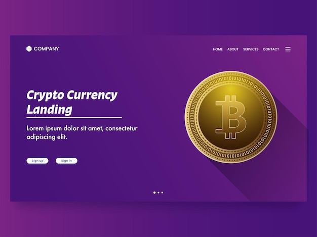 Crypto currency landing page with golden bitcoin on purple background.