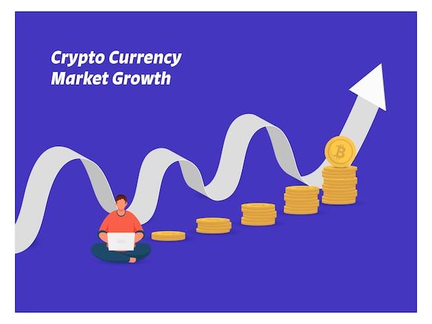 Концепция роста рынка криптовалюты с мультфильм человек работает