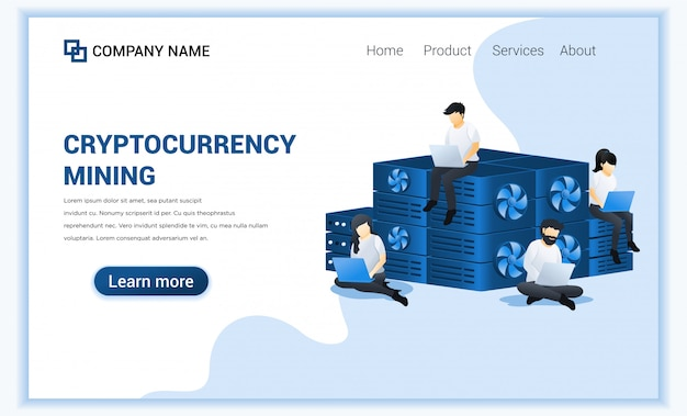 Crypto currency mining concept with people mining bitcoins on laptop. digital currency and trading.
