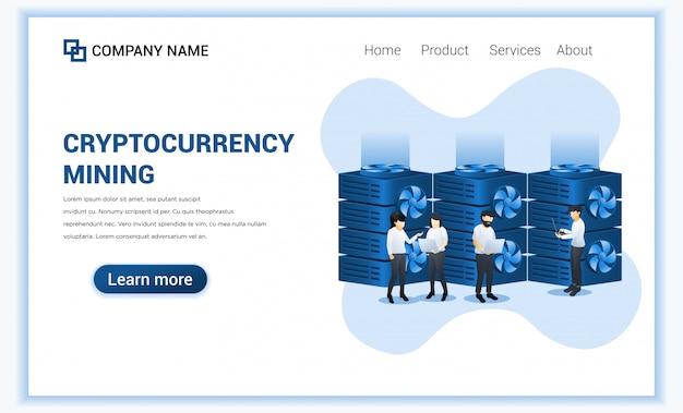 Концепция добычи криптовалюты с биткойнами людей минируя на компьтер-книжке. цифровая валюта и торговля.
