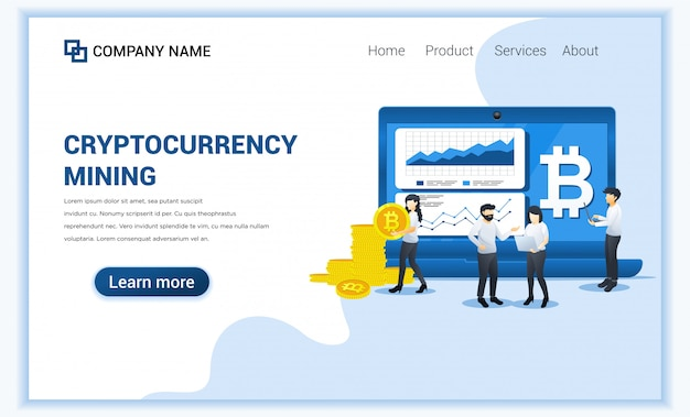 Crypto currency mining concept with people working on screen and laptop displaying graphic data, mining bitcoins.