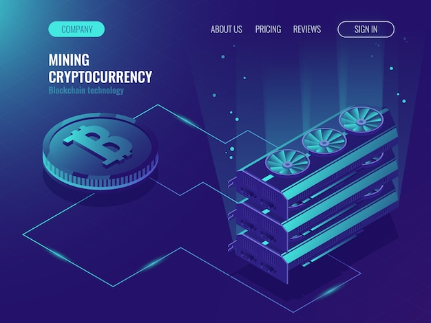 Crypto currency mining farm server. blockchain isometric, big data processing