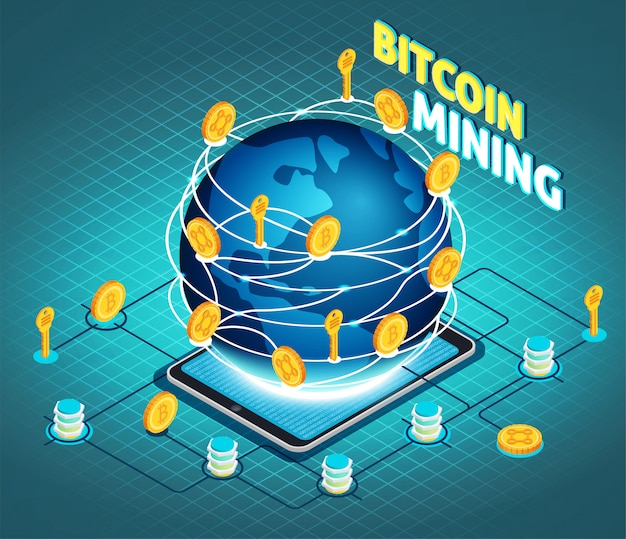 Crypto currency mining isometric composition