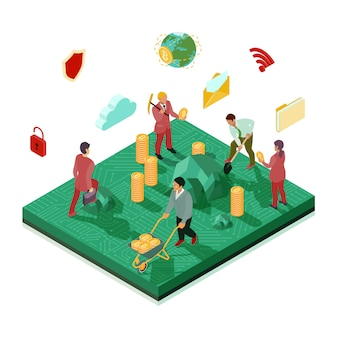 Crypto currency mining isometric illustration