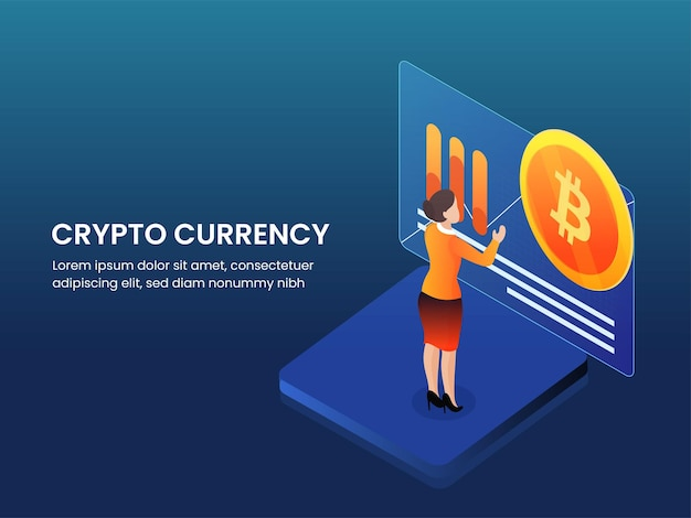 Crypto currency poster design with businesswoman analyzing financial data on blue background.