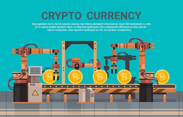 Crypto currency production bitcon mining conveyor technology modern web money concept
