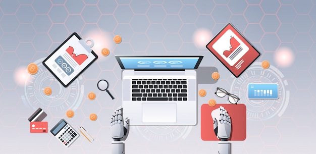 Crypto currency trading bot block chain concept bitcoin mining robotic hands using laptop at workplace desk top angle view office stuff